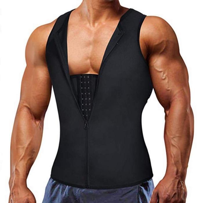 Men Shapewear Hook Zipper Adjustable Tummy Control Vest Waist Trainer Slimming Abdomen Tank Top Compressive Body Shaper Fat Burn