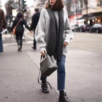 Solid Color Turtleneck  Loose Lantern Sleeves Sweater Dress
