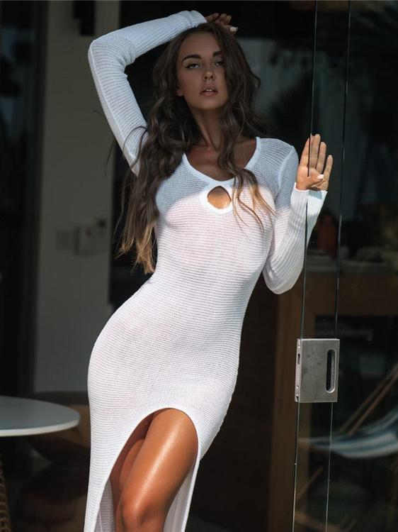 Hollow Knitting Sexy See-through Cover-up Swimwear