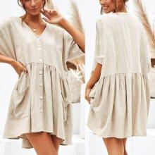 Summer Solid Color Casual Loose Pockets Mini Dress