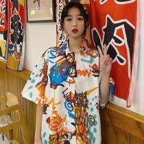 Women Loose Hip-hop Shirt Beach Style Harajuku Streetwear Turn-down Collar Tops
