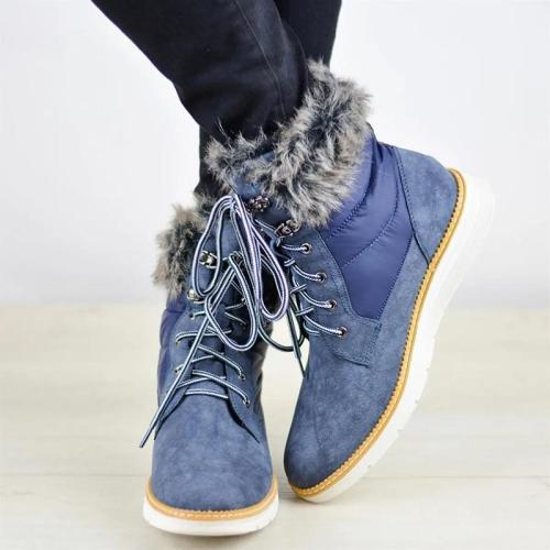 Casual ladies front lace-up stitching flat ankle boots