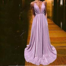 Sleeveless V-neck Swing Evening Dress