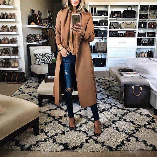Fashion Solid Color Lapel Woollen Outerwear