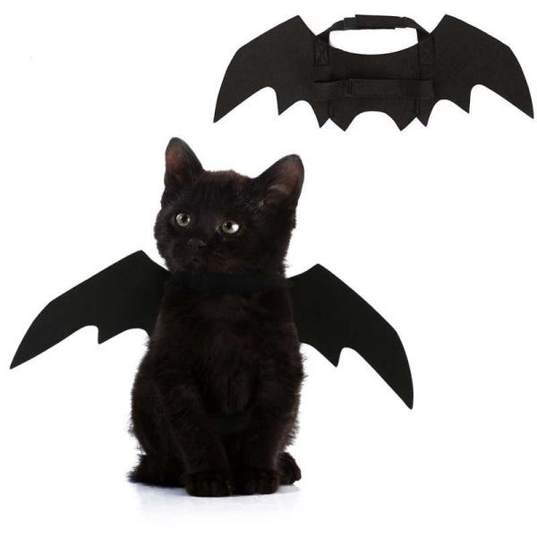 Brand New Halloween Costume For Pet Black Bat Wings Cool Puppy Cat Black Bats Dress Up Costume Pet Holiday Decoration Wholesale