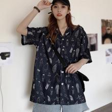 Retro Print Shirts Short Sleeve Loose Lapel Shirt Summer Women Casual Blouse Shirts