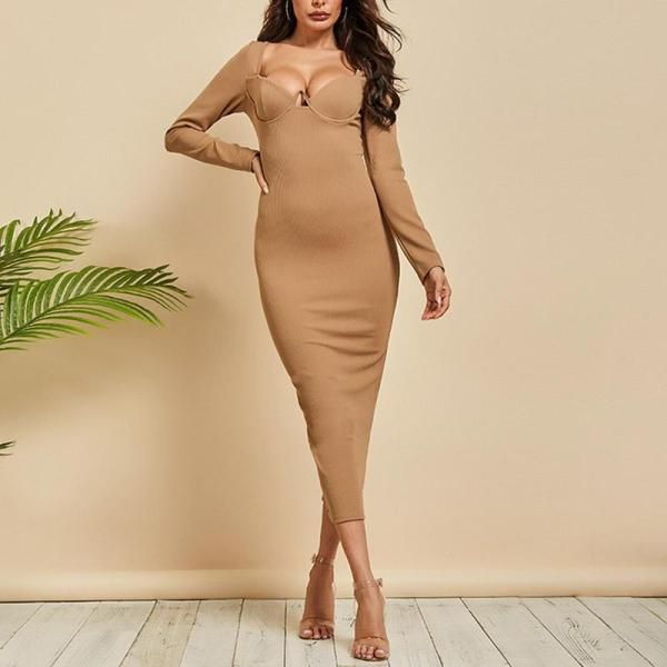 Solid Color And Long Sleeve Sexy Bodycon Dress