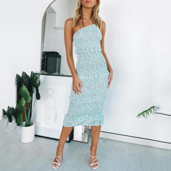One shoulder shirred midi dress