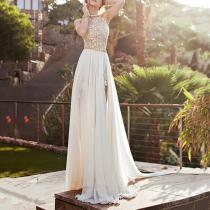 Fashion Halter Bare Back Sleeveless Evening Dress