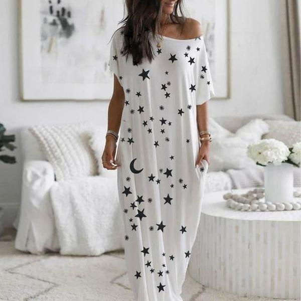 Simple Star Printed Round Neck Short Sleeve Loose Pajama Dress