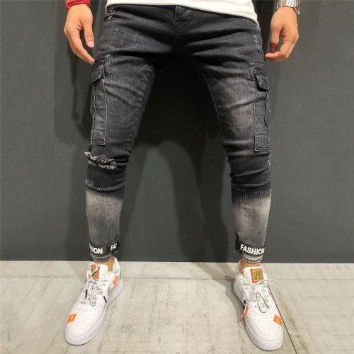 Fashion Hole-In-The-Leg Elastic Jeans