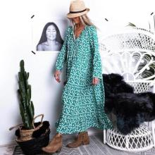 EBUYTIDE V-Neck Tassel Casual Print Maxi Dress