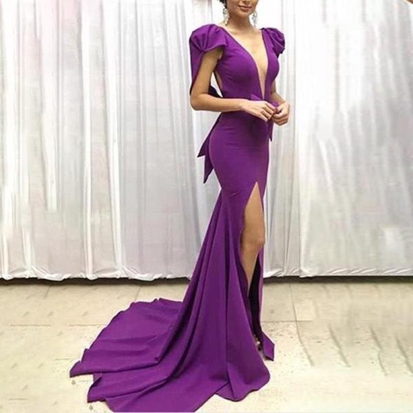 Sexy Deep V-neck Split Evening Dress