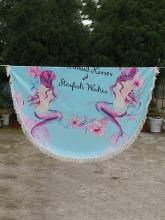 Floral Printed Tasseled Round Beach Mat
