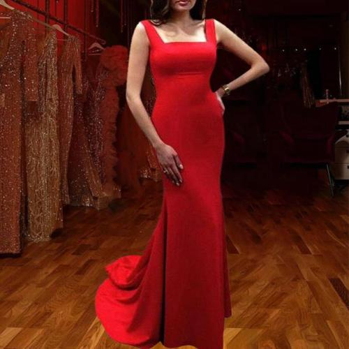 Fashion Sexy Slip Backless Red Evening Dress