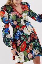 Sexy V Neck Printed Colour Pleated Mini Dresses