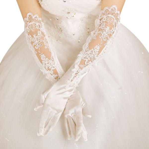 Wedding Bridal Banquet Long Gloves Hollow Embroidery Sequins Floral Lace Applique Elbow Length Full Finger Satin Mittens