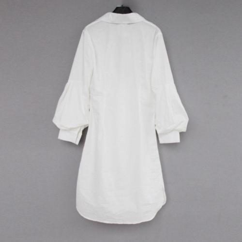 New White Lantern Sleeves Long Dress