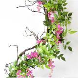 2M Flower String Artificial Wisteria Vine Garland Plants Foliage Wedding Arch Decoration Fake Flower Rattan Hanging Wall Decor