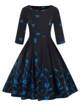 1950s Floral 3/4 Sleeve Swing Dress