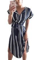 Random Stripe Short Sleeves Irregular Hem Midi Dress