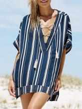 Stripes V-neck Cover-Ups Swimwear