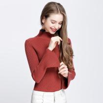 Turtlneck Solid Color Women Long Bell Sleeves Slim Sweater