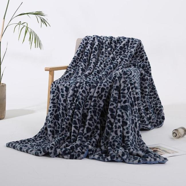 Elegant Leopard Design Fuzzy Blanket Sheets Super Soft Rabbit Fur Crystal Short Plush Bedding Sofa Cover 130*160cm/160*200cm