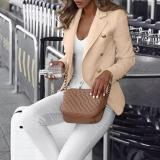 Commuting Suit Collar Double-Breasted Pure Colour Blazer Jacket