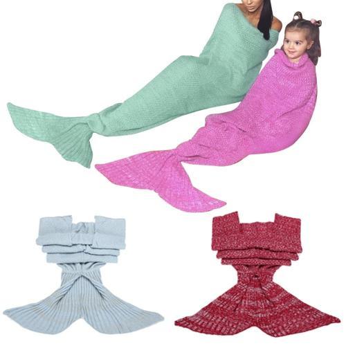 Mermaid Tail Sofa Blanket Super Soft Warm Hand Crocheted Knitting Blankets