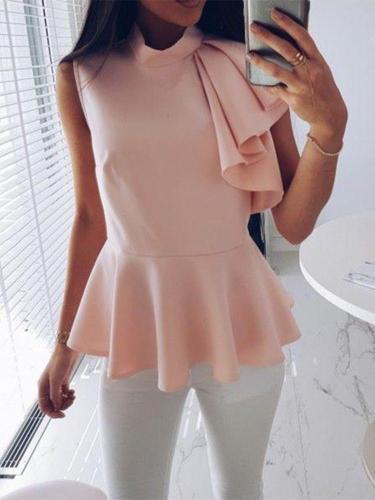Fashionable Sleeveless Irregular Lotus Leaf Vest
