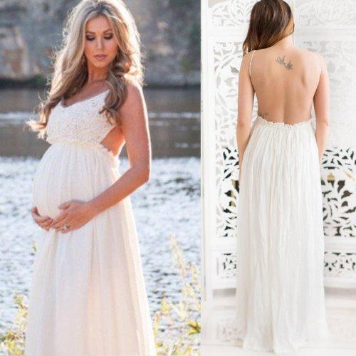 Maternity Open Back Sleeveless Maxi Dress