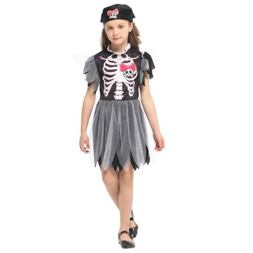 Halloween Carnival Party Costume Matching Scary Demon Devil Skull Skeleton Costumes Pirate Dress for Kids Girls