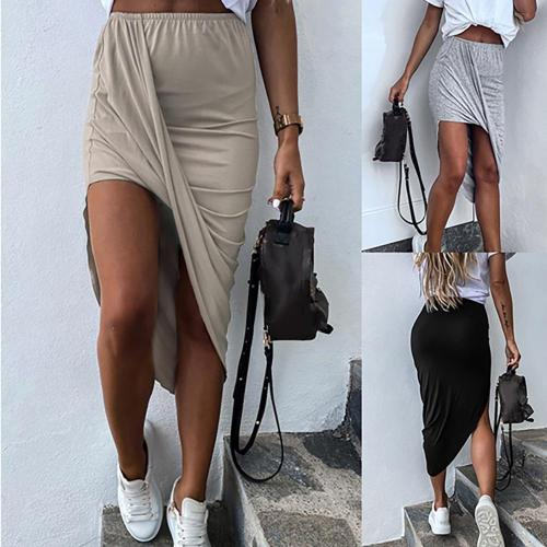 2020 Summer New Women Casual Asymmetrical Pleated Skirt Ladies Sexy Solid Color Skinny Elasticised Waist Wrap Hip Skirt D30