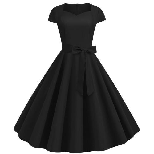 2020 Summer Women Vintage Pinup Dress 50S 60S Short Sleeve Elegant Office Party Rockabilly Dresses Big Swing Casual Vestido
