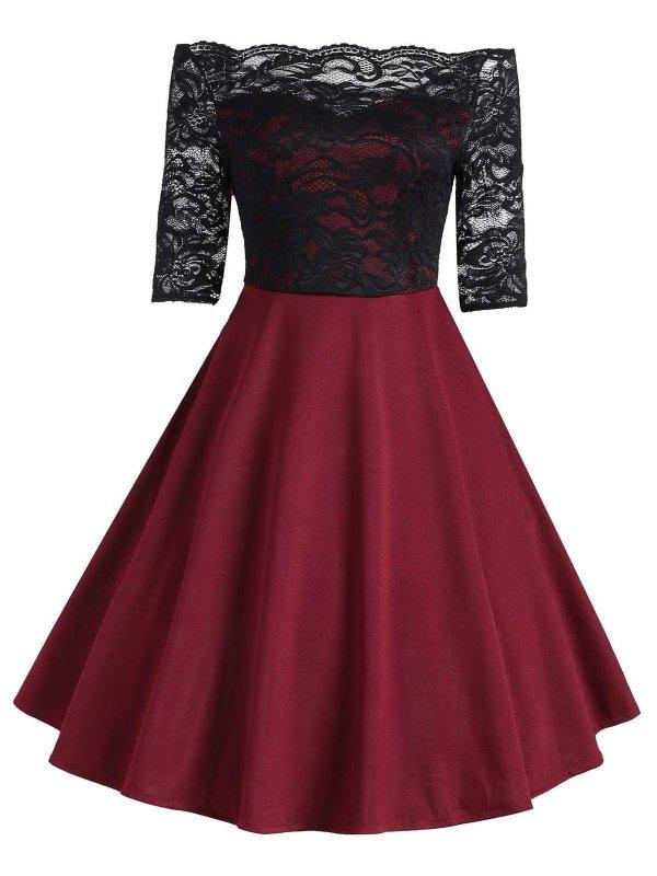 1950s Floral Lace Off Shoulder Dress