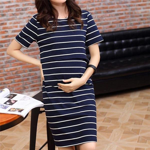 Dress Women O-Neck Pregnant Nursing Maternity Short Sleeve Stripe Summer Dress Maternity Dresses Summer Causal Pregnant Dress