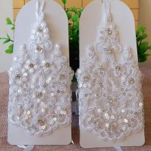 Bridal Gloves Elegant Short White Lace Rhinestone Women's Fingerless Gloves Wedding Accessories