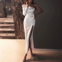 Sexy One-Shoulder Slit Sequins Evening Dress
