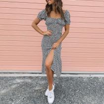 Sexy square collar printed split dress