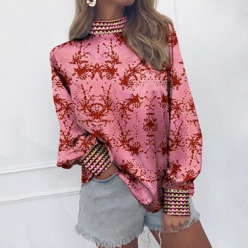 Fashion Vertical   Collar Long-Sleeved Print Matching Shirt