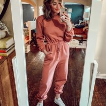 EBUYTIDE Pink Round Neck Long Sleeve Fitted Sporty Jumpsuit