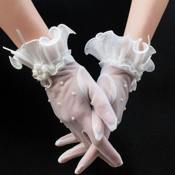 Wedding Bridal Sweet Ruffles Lace Short Gloves Imitation Pearl Beaded Floral Bowknot Decor Ribbed Cuffs Prom Banquet Mittens