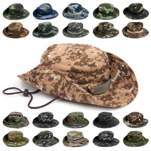 Men Women's Outdoor Wide Brim Sun Hat Side Snap Chin Cord Fishing Hiking Cap Camouflage Boonie Safari Summer Jungle Hunting Hats