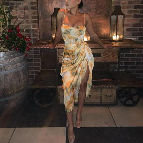 Fashion Retro Slip Sleeveless Wrinkle Bodycon Dress