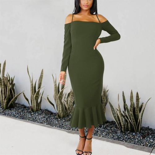 Solid Color Long-Sleeved Ruffled Fishtail Dress