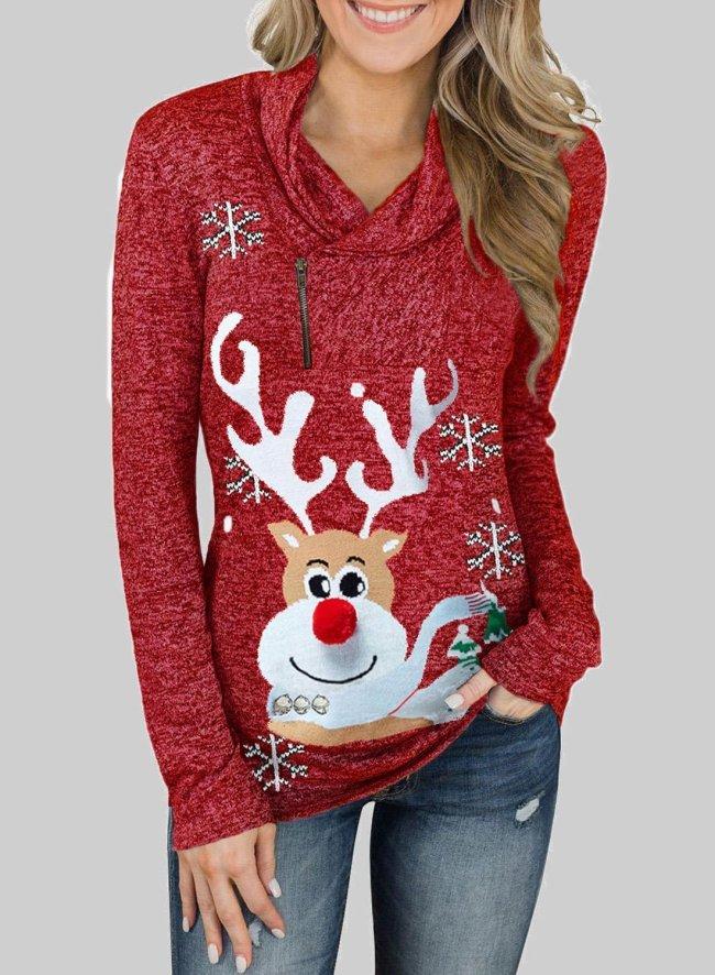 Christmas Elk Snowflake Print Sweatshirt