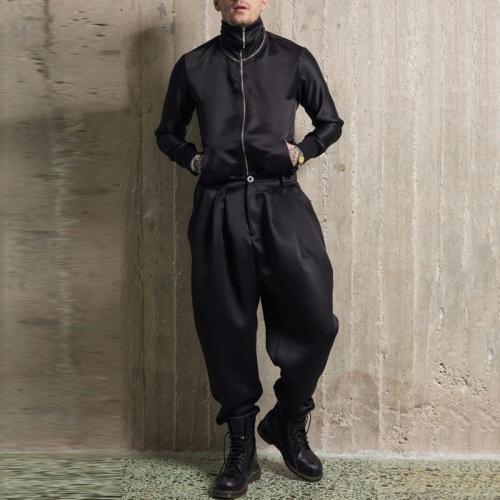 Modern Fashion Zipper Jacket Pants Two-Piece Set