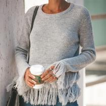 Loose Solid Color Fringed   Sweater