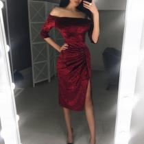 Sexy Off Shoulder Velvet High Slit Bodycon Dress